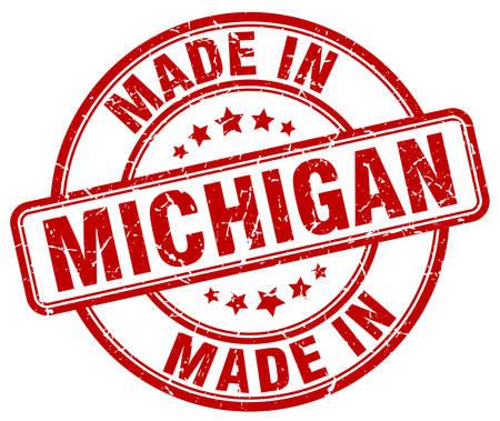 michigan: made in Michigan red grunge round stamp