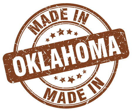 oklahoma: made in Oklahoma brown grunge round stamp