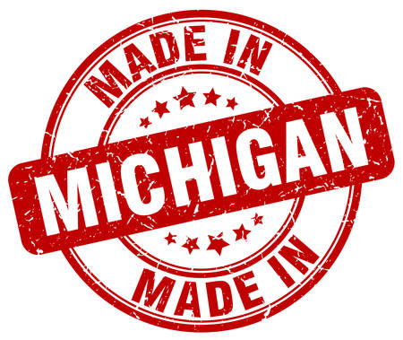 michigan: made in Michigan red grunge round stamp