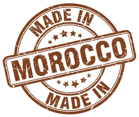made in morocco: made in Morocco brown grunge round stamp