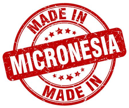 micronesia: made in Micronesia red grunge round stamp Illustration