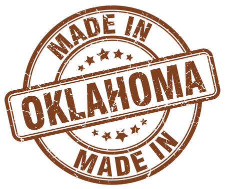 made in: made in Oklahoma brown grunge round stamp