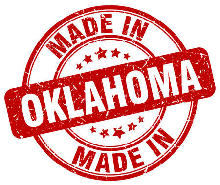 oklahoma: made in Oklahoma red grunge round stamp Illustration