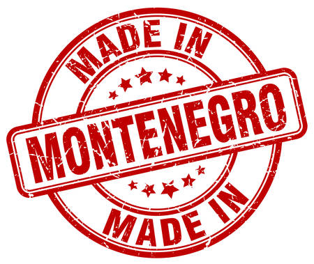 made in: made in Montenegro red grunge round stamp