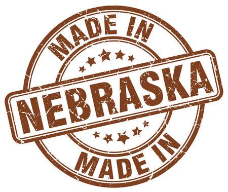 nebraska: made in Nebraska brown grunge round stamp Illustration