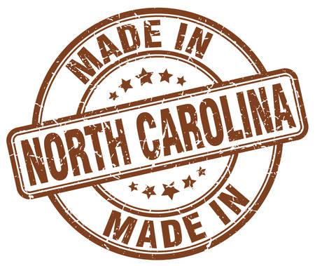 north carolina: made in North Carolina brown grunge round stamp Illustration