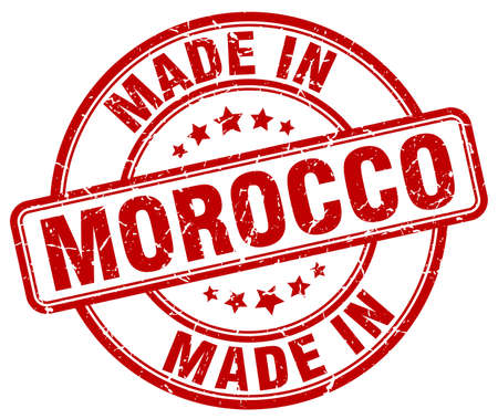 made in morocco: made in Morocco red grunge round stamp Illustration