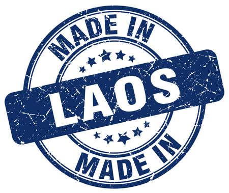 laos: made in Laos blue grunge round stamp Illustration
