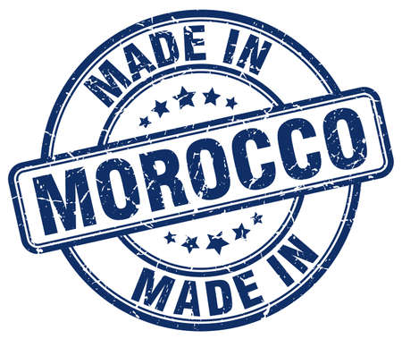 made in morocco: made in Morocco blue grunge round stamp