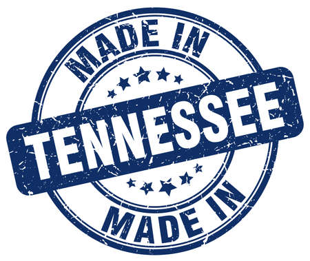 tennessee: made in Tennessee blue grunge round stamp