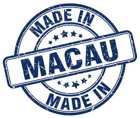 macau: made in Macau blue grunge round stamp