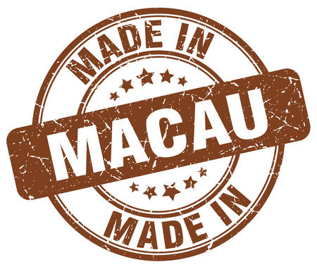 macau: made in Macau brown grunge round stamp