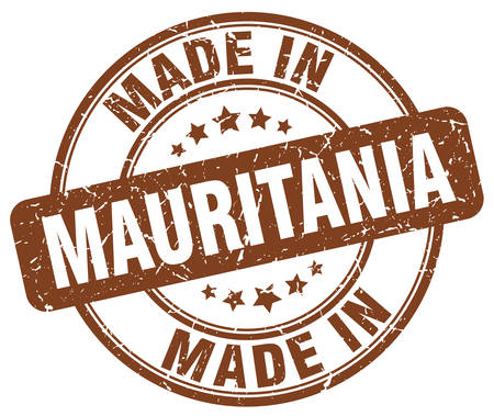 made in: made in Mauritania brown grunge round stamp