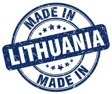 lithuania: made in Lithuania blue grunge round stamp