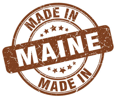made in: made in Maine brown grunge round stamp