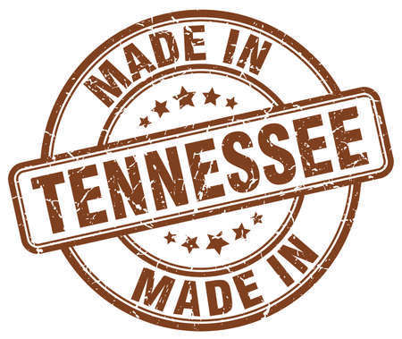 tennesse: hecho en Tennessee sello redondo marr�n grunge Vectores