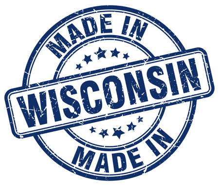 made in: made in Wisconsin blue grunge round stamp Illustration