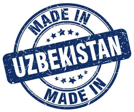 uzbekistan: made in Uzbekistan blue grunge round stamp Illustration