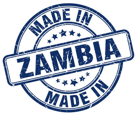 zambia: made in Zambia blue grunge round stamp Illustration