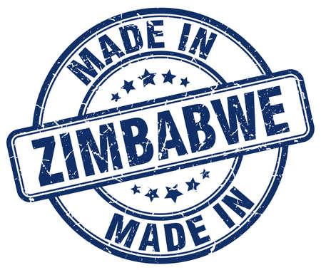 zimbabwe: made in Zimbabwe blue grunge round stamp