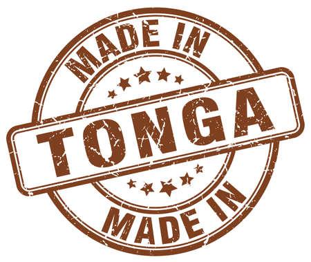 made in Tonga brown grunge round stamp Illustration