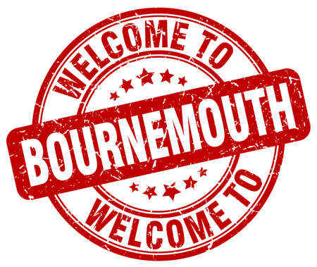 bournemouth: welcome to Bournemouth red round vintage stamp
