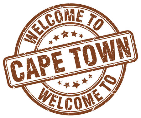 cape town: welcome to Cape Town brown round vintage stamp