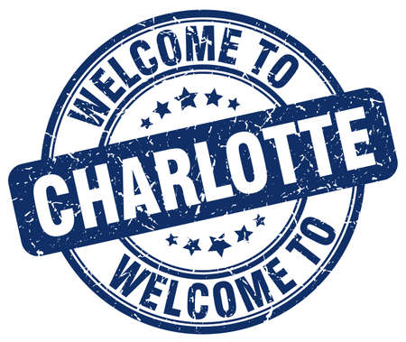 charlotte: welcome to Charlotte blue round vintage stamp