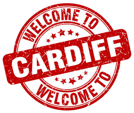 welcome to Cardiff red round vintage stamp