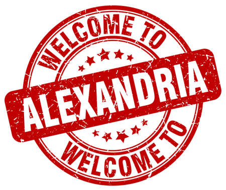 alexandria: welcome to Alexandria red round vintage stamp