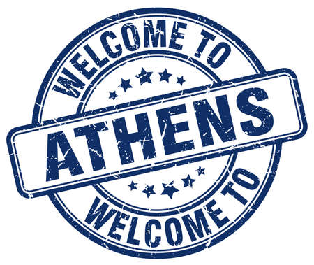 athens: welcome to Athens blue round vintage stamp