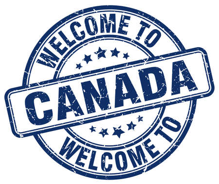 canada stamp: welcome to Canada blue round vintage stamp