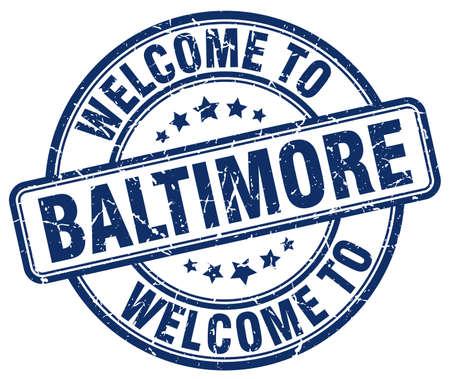 baltimore: welcome to Baltimore blue round vintage stamp Illustration