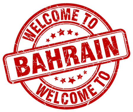 bahrain: welcome to Bahrain red round vintage stamp