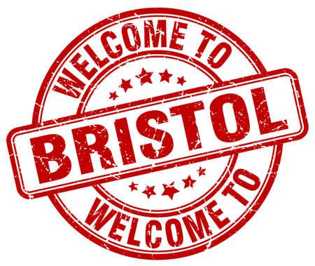 bristol: welcome to Bristol red round vintage stamp Illustration