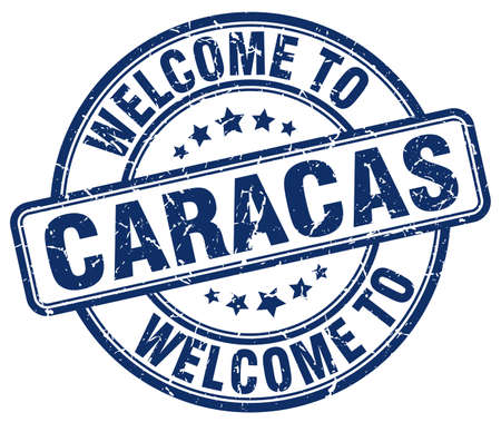 caracas: welcome to Caracas blue round vintage stamp