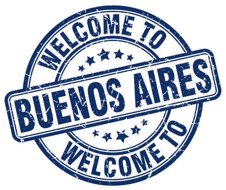 aires: welcome to Buenos Aires blue round vintage stamp Illustration