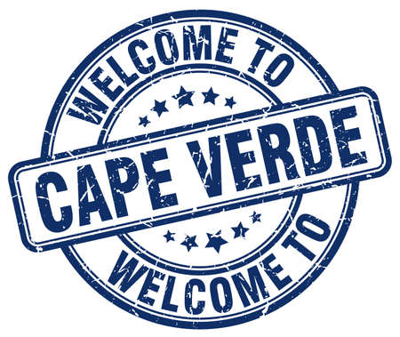 welcome to Cape Verde blue round vintage stamp