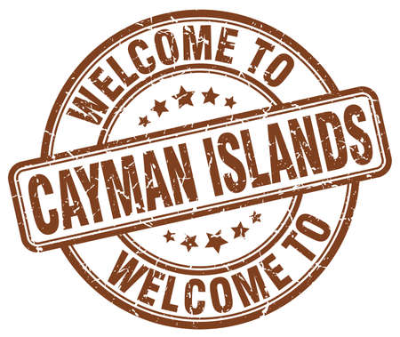 cayman: welcome to Cayman Islands brown round vintage stamp