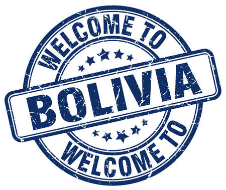 bolivia: welcome to Bolivia blue round vintage stamp