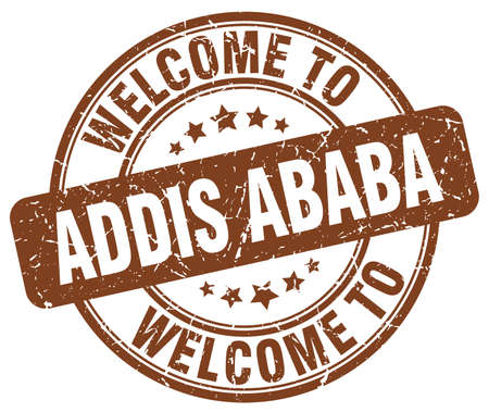 addis: welcome to Addis Ababa brown round vintage stamp