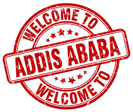 addis: welcome to Addis Ababa red round vintage stamp