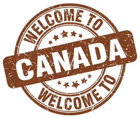 canada stamp: welcome to Canada brown round vintage stamp