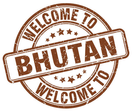 bhutan: welcome to Bhutan brown round vintage stamp
