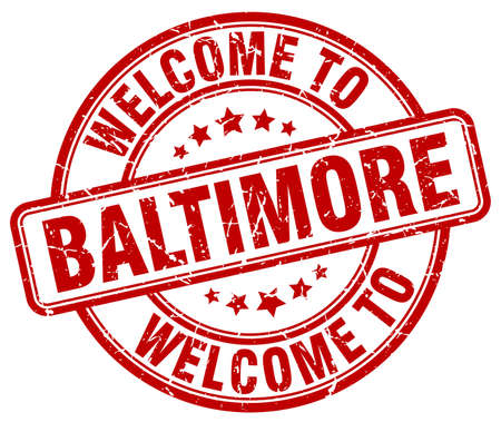 baltimore: welcome to Baltimore red round vintage stamp