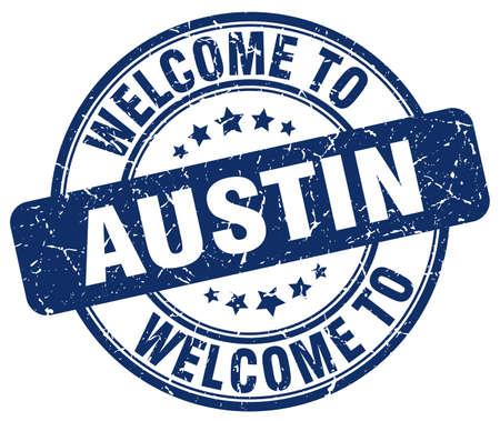 austin: welcome to Austin blue round vintage stamp