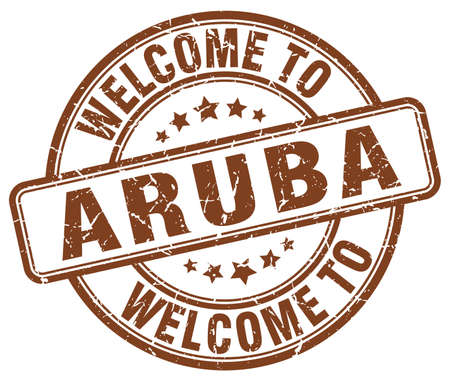 aruba: welcome to Aruba brown round vintage stamp