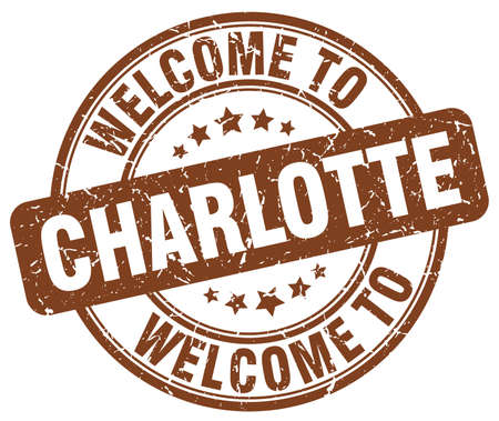 charlotte: welcome to Charlotte brown round vintage stamp