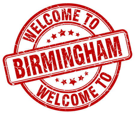 birmingham: welcome to Birmingham red round vintage stamp