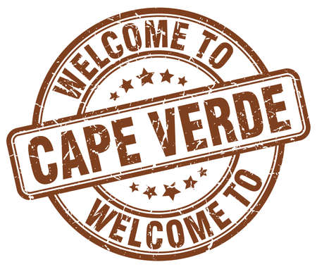 cape: welcome to Cape Verde brown round vintage stamp